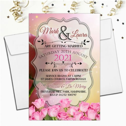10 Personalised Premium Wedding Invitations Day or Evening N75 Pink Roses